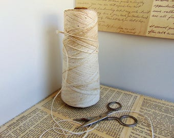 Vintage Cotton Bakers Twine String Spool with Scissors for Gift Wrap Station
