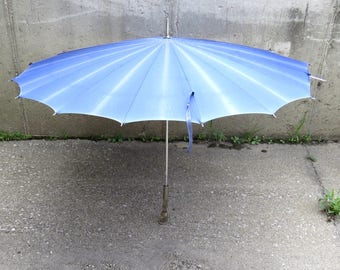 Light Blue Umbrella Parasol Vintage Clear Lucite Handle - FREE Domestic Shipping