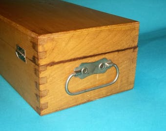 Wooden Dovetail Drawer Old Microscope Box