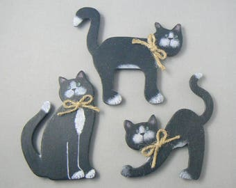 Black Cat Wood Magnets