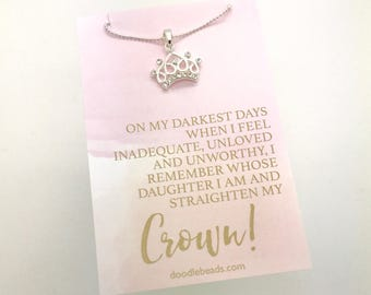 Daughter of the King, crown necklace, inspiring gifts, meaningful gifts, small silver or gold CZ crown pendant carded with quote, self worth
