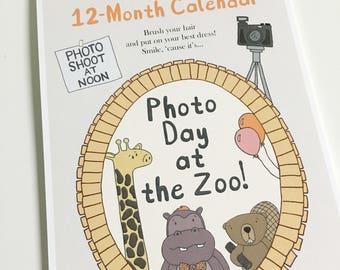 SALE! Calendar: animal calendar, wall calendar, 2018 calendar, 2018 wall calendar, 12-month calendar, cute calendar, gift item