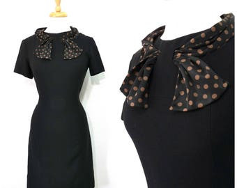 Vintage 1950s Black crepe dress Carl Naftal Original Polka dot scarf Wiggle party dress S/M
