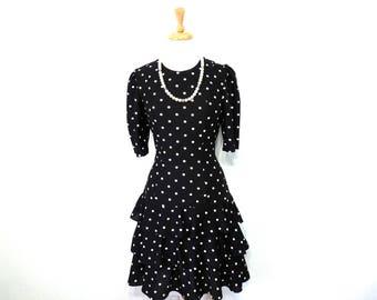 Polka Dot Dress Black Selly Lou Tiered Ruffled Party Dress