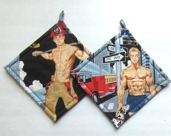 Sexy Hunky Hot Firemen Pot Holders Set of Two