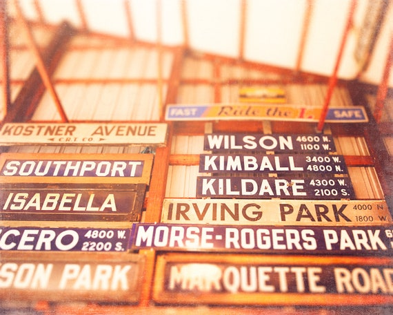 Chicago CTA Signs, Vintage Sign Photography, El Signs, Wall Art - Chicago print, retro inspired, home decor, playroom art, bright orange