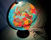 World Globe, World Globe Lamp, Lighted World Globe, Vintage 1980s Globe, Danish Made Globe
