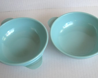 Set of Two (2) Turquoise Melamine Cereal Bowls with Tab Handles
