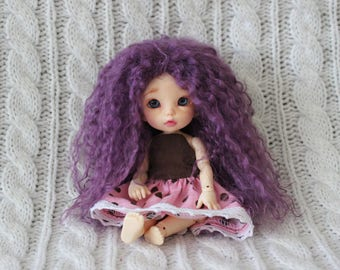 Brilliant Purple mohair wig for Pukifee / Lati Yellow / other small doll