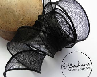 Hand Rolled Sinamay Ribbon Trim for Millinery, Hat Making & Fascinators - Black
