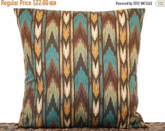 Christmas in July Sale Chevron Pillow Cover Cushion Southwestern Decor Teal Rust Mustard Green Brown Decorative 18x18