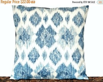 Christmas in July Sale Blue Ikat Pillow Cover Cushion Light Blue Denim Navy Beige Coastal Repurposed Decorative 16x16