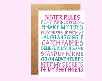 Sister Rules Greetings Card, Card for new baby, New Big Sister card, New sister gift, from brother, Card from sister, Girls card, from bump