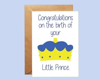 Baby Boy Card, Congratulations Little Prince Card, New Baby Card, Card For Baby, Baby Greetings Card, Baby Boy Birth, Newborn Boy Card