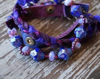 Purple Bracelet - Wrap Bracelet - Leather - Silk - Beaded - Boho Bracelet - Bracelet or necklace - Wrap Jewelry - Bead Soup Jewelry
