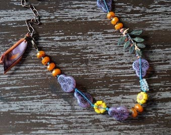 Unlisted - Skull Necklace - Bright Colors - Leaf - Festive Fall Jewelry - Boho Knotted Necklace - Purple and Orange - Bead Soup Jewelry