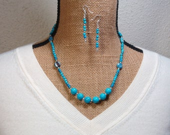 American Turquoise and Jasper Gemstones 925 Silver Necklace and  Earrings