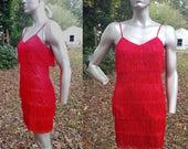 Flapper Dress, Fringe Dress, Flapper Costume, 80s Dress, Vintage Dress, Vintage Costume, Red Dress, Mayvens, 80s Costume, 20s Costume