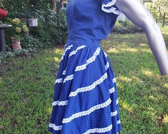 50s Dress in Lace and Polka Dots, Vintage Dress, Vintage Costume, Gilligan's Island, Mary Ann, Hee Haw Size 8