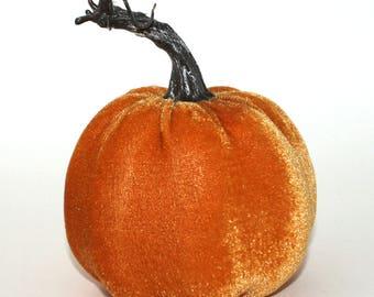 Orange Velvet Pumpkin - Table Topper, Garlands, Wreaths, Halloween, Thanksgiving, Fall Floral