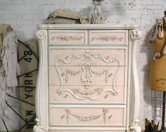 Painted Cottage Chic Shabby Romantic French Dresser / Chest CH904