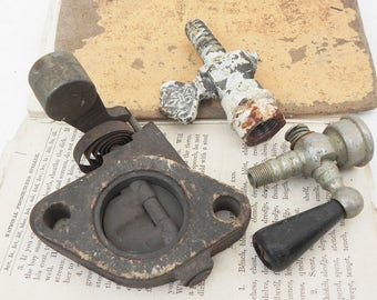 Salvaged vintage gas light lamp valves nozzles and heavy spring load valve parts DIY Repurpose