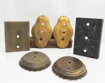Lot of 6 Salvaged Vintage Metal Wall Sconce Backplates LAMP PARTS Repurpose