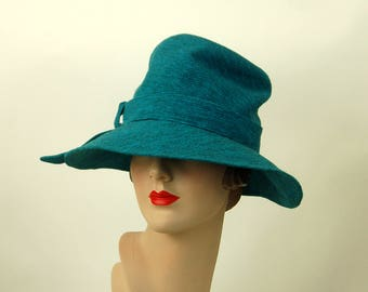 1960s Lilly Dache' hat turquoise slouchy fedora wool knit hat Young Modes Size 21