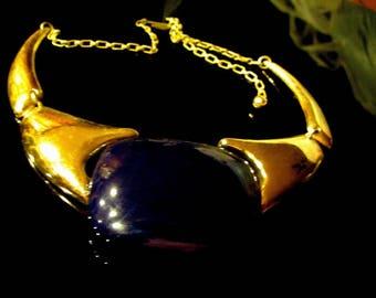 Rare Vintage Lanvin Paris France Modernist Lucite Runway Necklace Dark Purple Blue