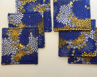Fabric Coasters, Blue and Yellow Coasters, Blue Modern Floral Coasters, Wine Glass Coasters, Set of Six Coasters