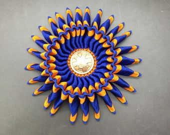 Blue and Gold Folded Cocarde Cockade Applique Millinery Military Reenactment
