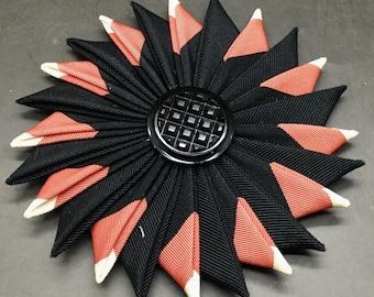 Black and Coral Cocarde Cockade With Black Glass Button
