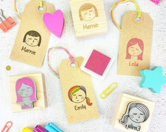 Personalised Woman Girl Character Rubber Stamp  - Personalized Rubber Stamp - Custom Stamper - Secret Santa Gift - Gift for Teen