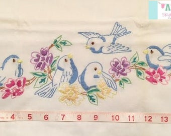 Vintage Pillowcase with Hand stitched Blue Birds