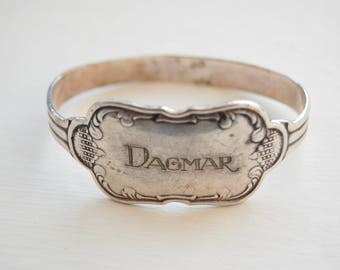 Antique Baby Girl Sterling Silver Plate Name Bangle -Sweden Silver 1800s