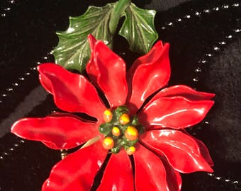 Vintage Poinsettia Brooch Pin Vintage Red Enameled Poinsettia Breast Pin Flower  FREE Shipping