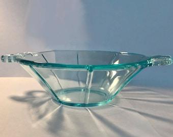 Vintage Fenton Art Glass Aqua Blue Dolphin Bon Bon Candy Dish