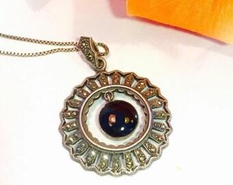 CIJ SALE Christmas JULY Art Deco Sterling Silver Black Onyx Marcasite Circle Pendant Vintage Necklace Art Deco Jewelry