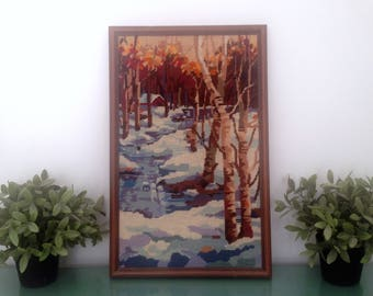 "vintage ""Winter Stream"" Needlepoint, framed. Beautiful red cabin in the woods, trees, water design. Charming rustic cottage cabin needlework"