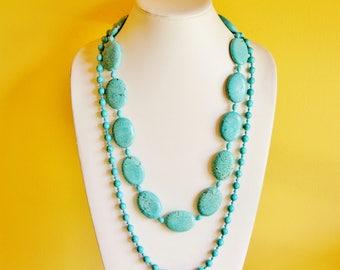 Turquoise necklace, turquoise jewelry, bold necklace, oversized jewelry, magnesite jewelry, big chunky necklace, large necklace big necklace