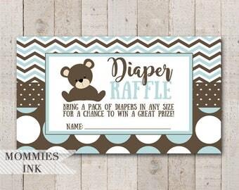 Teddy Bear Diaper Raffle Ticket, Chevron Diaper Raffle, Printable Raffle Ticket, Baby Shower Raffle Ticket, DIY, Baby Shower Printable