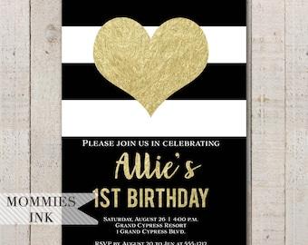 Gold Heart Birthday Invitation, Heart Invitation, Heart Invite, Black and White Stripes, Party Invitation, 1st Birthday Invite, Valentine