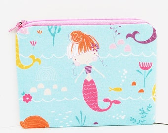 Small Zipper Pouch, Pretty Pink Mermaid and Sea Horses, Pale Turquoise, Ocean Coin Purse
