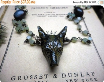 SALE Wolf In Sheep's Clothing XiV - Carved Ocean Kambaba Wolf Head Pendant, Moss Agate, & Blue-Green Apatite beaded Rosary Bead Necklace Occ