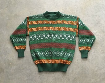 intarsia knit 90s ugly sweater | green and yellow holiday sweater | red and green sweater | 1211236