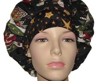 Scrub Hat Women-Christmas Santa's Big Night-Scrub Hat-Bouffant Scrub Hat-ScrubHeads-Holiday Scrub Hat-Santa Scrub Hat-Christmas Scrub Hat