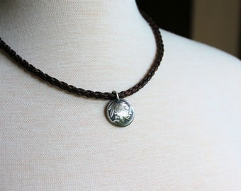 Mens Indian Nickel Pendant Necklace, Brown Leather Braid Necklace