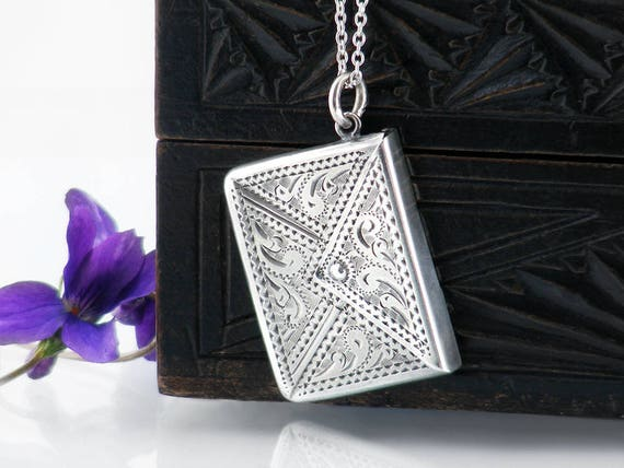 1915 Antique Sterling Silver Locket Edwardian Silver Stamp Envelope Locket | Adie & Lovekin Ltd | Hallmarked Silver - 30 inch Sterling Chain