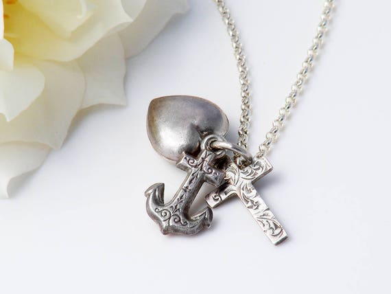 Vintage Sterling Silver Charm Pendant | Faith, Hope & Charity Charms | 925 Silver Heart, Cross and Anchor - 20 Inch Chain Included