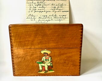 Vintage Recipe Box with Recipes Dovetailed Wooden Recipe Box with 1950s Recipes Mexican Decal